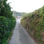 西側から見た溪琴邸(右側)。広い敷地を当時のままの土塀が取り囲んでいる。