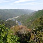 遊歩道が北側に回り込むと木津川の眺めが開ける。「行雲飛鳥を數里の外に見る」。